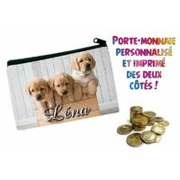 Porte monnaie Chien chiot Labrador personnalisé avec prénom au choix