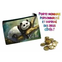 Porte monnaie Panda personnalisé avec prénom au choix