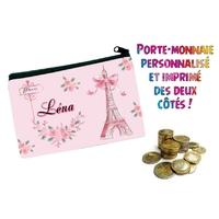 Porte monnaie Paris personnalisé avec prénom au choix
