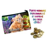 Porte monnaie Chat chaton personnalisé avec prénom au choix