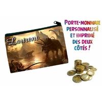 Porte monnaie Dinosaure personnalisé avec prénom au choix