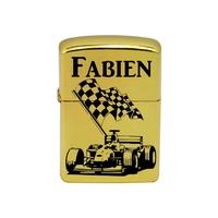 Briquet essence Formule 1 personnalisé avec prénom