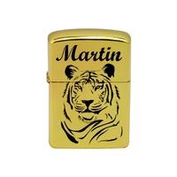 Briquet essence Tigre personnalisé avec prénom