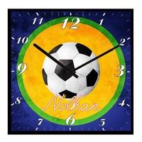 Pendule murale carré Ballon de foot personnalisée avec prénom au choix