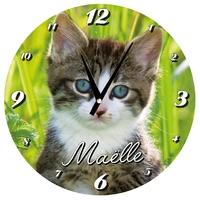 Pendule murale ronde Chat Chaton cat personnalisé avec prénom