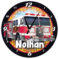 Pendule murale Pompier personnalisée avec prénom
