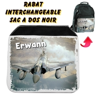 Rabat interchangeable sac à dos noir Avion de chasse personnalisé avec prénom
