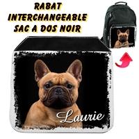 Rabat interchangeable sac à dos noir Bouledogue personnalisé avec prénom