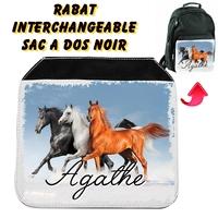 Rabat interchangeable sac à dos noir Chevaux personnalisé avec prénom