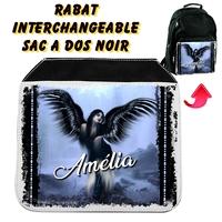 Rabat interchangeable sac à dos noir Ange gothique personnalisé avec prénom