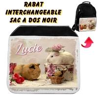 Rabat interchangeable sac à dos noir Cochon d'inde personnalisé avec prénom