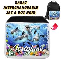 Rabat interchangeable sac à dos noir Dauphins personnalisé avec prénom