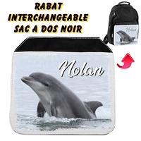 Rabat interchangeable sac à dos noir Dauphin personnalisé avec prénom