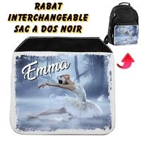 Rabat interchangeable sac à dos noir Danse classique personnalisé avec prénom