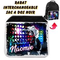 Rabat interchangeable sac à dos noir Danse personnalisé avec prénom