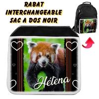 Rabat interchangeable sac à dos noir Panda roux personnalisé avec prénom