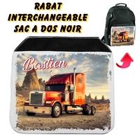 Rabat interchangeable sac à dos noir Camion personnalisé avec prénom