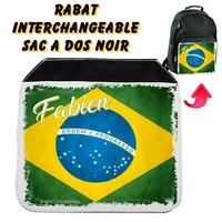 Rabat interchangeable sac à dos noir Brésil personnalisé avec prénom
