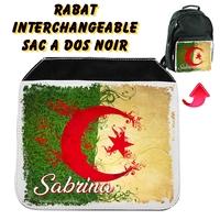 Rabat interchangeable sac à dos noir Algérie personnalisé avec prénom