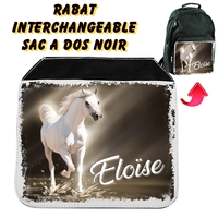 Rabat interchangeable sac à dos noir Cheval personnalisé avec prénom