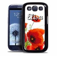 Coque samsung galaxy S4 S5 S6 S7 S8 S9 Coquelicot personnalisée avec prénom