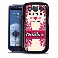 Coque samsung galaxy S4 S5 S6 S7 S8 S9 Super mamie personnalisée avec prénom