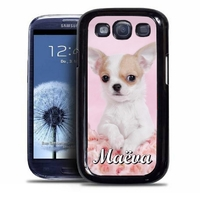 Coque samsung galaxy S4 S5 S6 S7 S8 S9 Chien Chihuahua personnalisée avec prénom