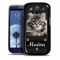 Coque samsung galaxy S4 S5 S6 S7 S8 S9 Chat Chaton personnalisée avec prénom
