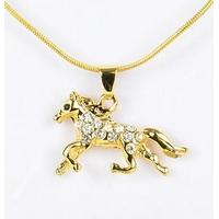 Collier pendentif Cheval doré avec strass et chaîne fine dorée