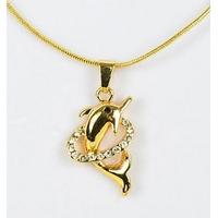 Collier pendentif Dauphin doré avec strass et chaîne fine dorée