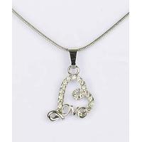 Collier pendentif Coeur Love  argenté avec strass et chaîne fine argentée