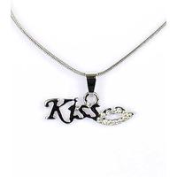 Collier pendentif Bisou Kiss argenté avec strass et chaîne fine argentée