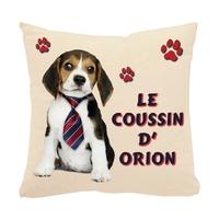 Coussin pour chien Beagle personnalisé avec le nom de votre animal