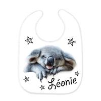 Bavoir bébé Koala personnalisé avec le prénom de votre choix