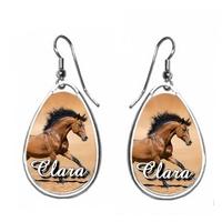 Boucles d'oreilles Cheval personnalisées avec prénom