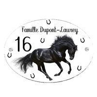 Plaque de maison Cheval noir personnalisée avec votre texte et numéro