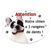 Plaque Attention au chien Bouledogue français personnalisée avec texte au choix