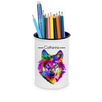Pot à crayons Loup personnalisé avec prénom