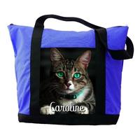 Sac cabas bleu Chat chaton personnalisé avec le prénom