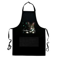 Tablier de cuisine noir Chat chaton personnalisé avec prénom