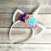 Serre-tête fantaisie enfant Licorne avec oreilles, corne et fleurs