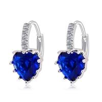 Boucles d'oreilles dormeuses femme Coeur cristal bleu royal