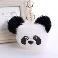 Porte-Clés / Bijou de Sac Panda en Pompon Fourrure
