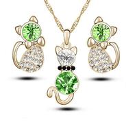 Parure Collier et boucles d'oreilles femme Chat Strass blancs et verts