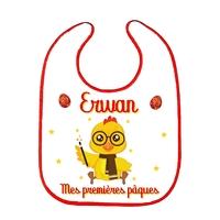Bavoir bébé Premières pâques personnalisé avec le prénom de votre choix