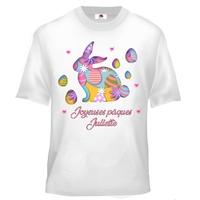 Tee shirt enfant Joyeuses pâques personnalisé avec prénom