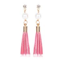 Boucles d'oreilles pendantes perles, strass et franges