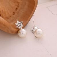 Boucles d'oreilles (clous) Perles et fleurs strass