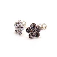 Boucles d'oreilles (clous) fleurs strass en argent 925 sterling