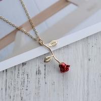 Collier pendentif Fleur Rose rouge avec chaîne dorée TOP QUALITE